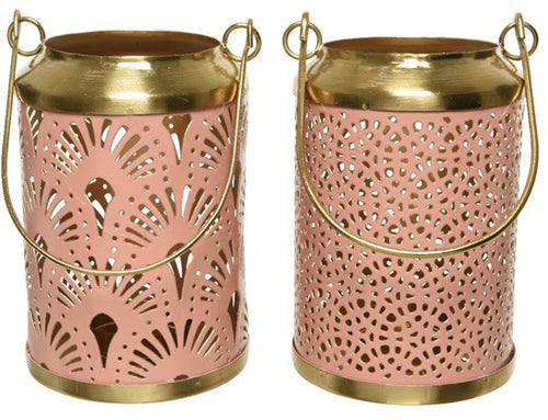 Pink and Gold Fan Lantern 14cm