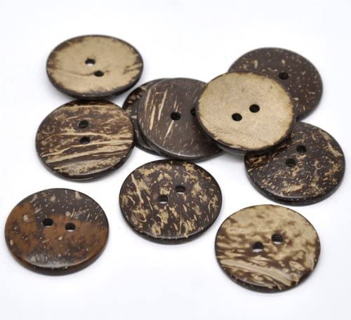 Pack of 5 Large Round Coconut Shell 38mm Buttons Sewing, Knitting, Crochet