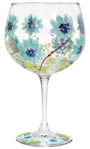 Painted Blue Gerbera Flower Gin Glass