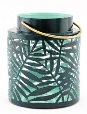 Green Leaf Metal Lantern Small 15cm