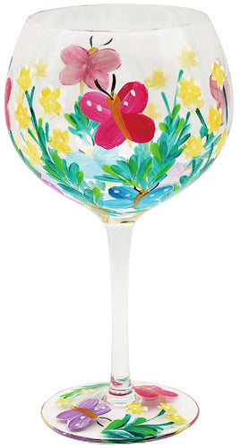 Painted Butterfly Gin Glass