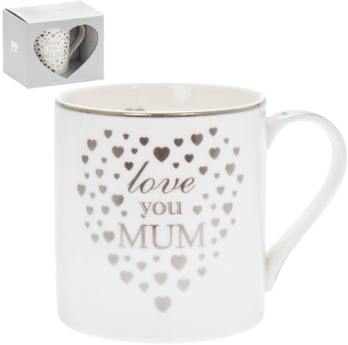 Silver Hearts Love You Mum Fine China Mug