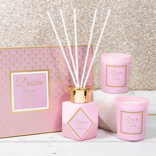 Desire Boutique Diffuser & Candle Set - Peony & Blush