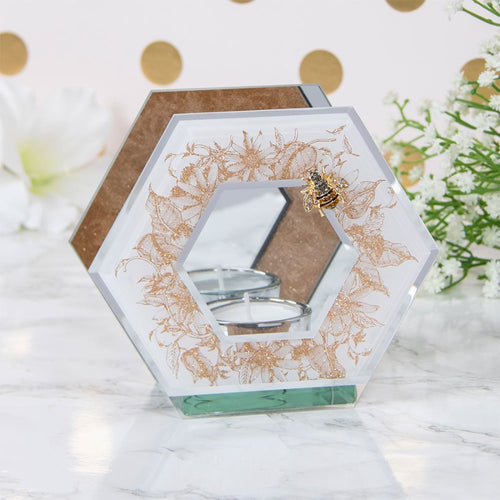 Golden Bee Hexagon Glass T Light Holder