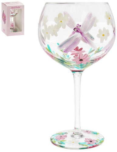 Painted Dragonfly Gin Glass