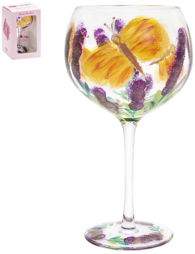 Painted Butterflies Gin Glass
