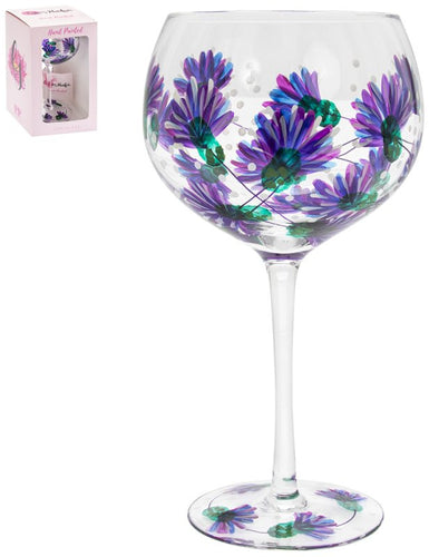 Painted Purple Thistle Gin Glass