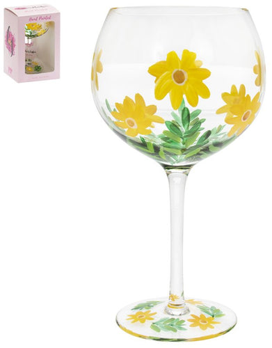 Painted Daisies Gin Glass