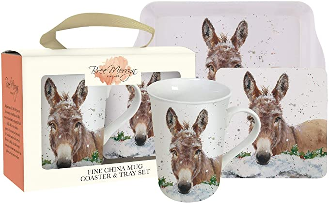 Bree Merryn Donkey Christmas Mug, Coaster and Tray Set