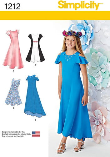 Simplicity Sewing Pattern 1212 Girls' Plus Dresses, Size BB, (8 1/2-16 1/2)