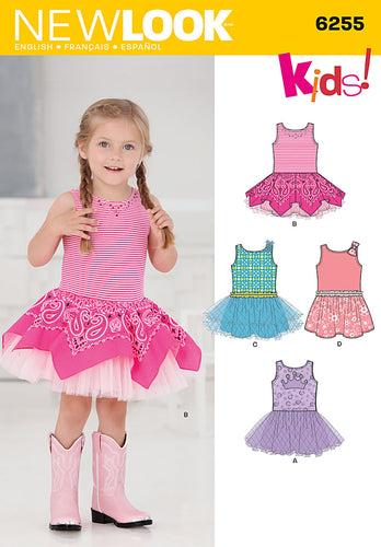 New Look 6255 Toddlers' Dress with Knit Bodice sewing pattern