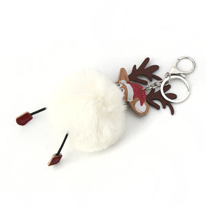 Reindeer Pom Pom Reindeer Christmas Key Ring-Cream