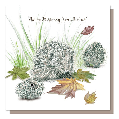Happy Birthday from all of us Hedgehog Family Greetings Card Birthday