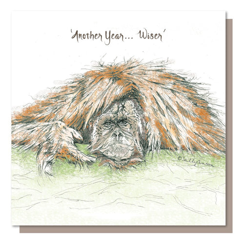 Another Year Wiser - Birthday Card Greeting - Orangutan - Blank inside