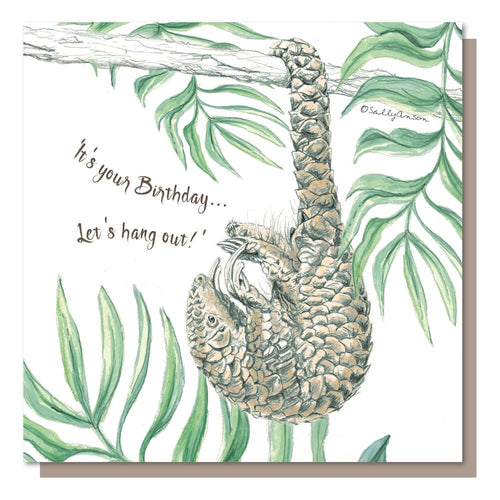 Its your birthday - Pangolin - greetings card - birthday