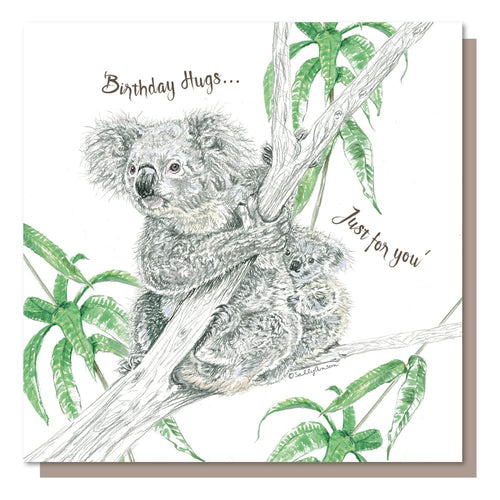 Birthday Hugs Just for you, Card Blank inside Koala Bear.