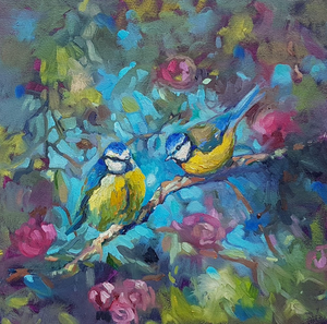 Bluebirds & Blossom Mini Canvas by artist Sue Gardner