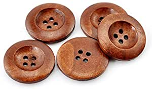 Pack of 10 Classic Chestnut Round 25mm Wooden Sewing, Knitting, Crochet Buttons