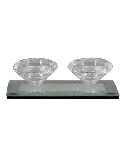 Double mirror Milano Tealight Holder Silver