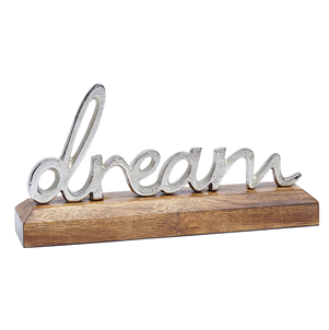 Silver Metal Dream On A Wooden Base