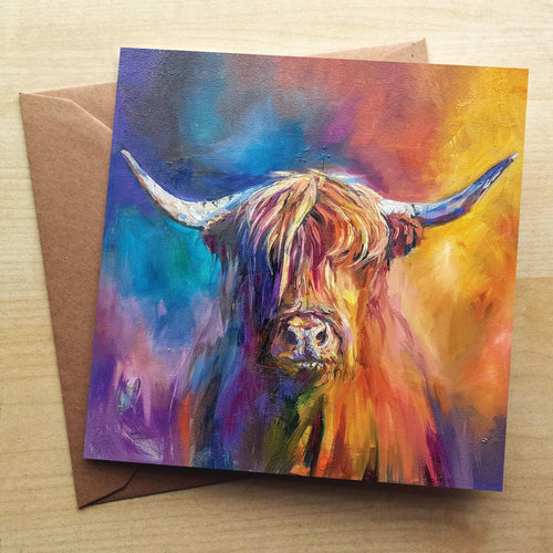 Harris Highland Cow Greetings Card by Sue Gardner