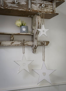 Hanging Wooden Star With Heart