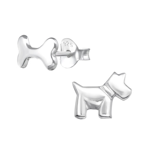 Dog and Bone Sterling Silver 925 Earring Studs