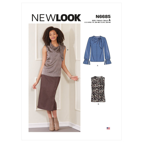 New Look Misses Tops Sewing Pattern 6685