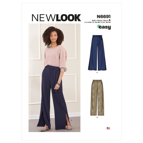 Misses New Look 6691 Slim or Flared Trousers-Easy