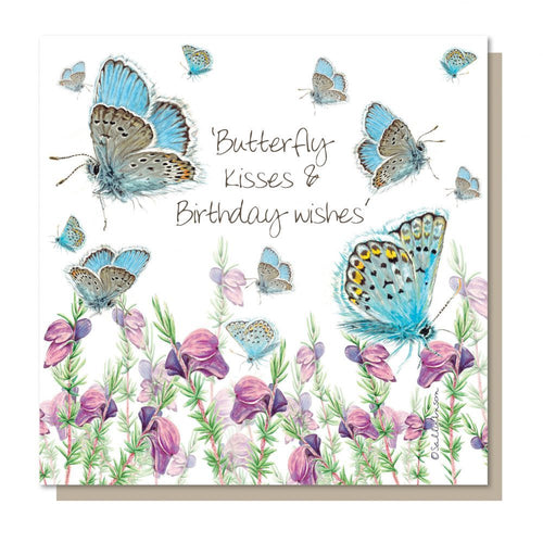 Butterfly kisses and Birthday wishes, greetings card, blank inside