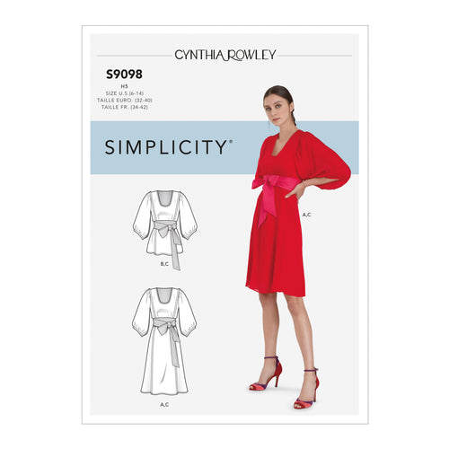 Simplicity Sewing Pattern S9098 Misses' Dress & Top With Tie Belt