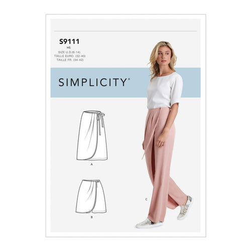 Simplicity Sewing Pattern S9111 Misses' Faux Wrap trousers, Skirt & Shorts