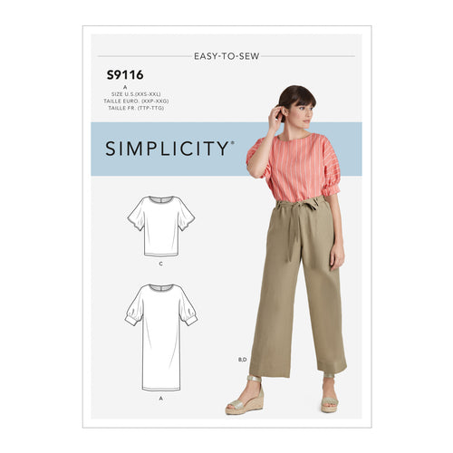 Simplicity Sewing Pattern S9116 Misses' Dress, Tops & Trousers With Tie Belt