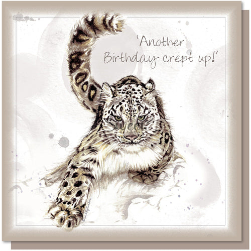 Another Birthday crept up, Greetings card, blank inside, Snow Leopard.