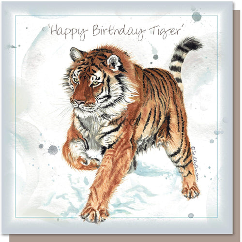 Siberian Tiger Greetings Card Happy Birthday Tiger Blank inside