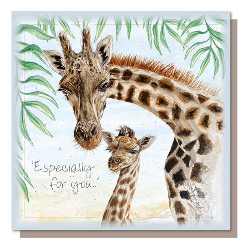 Especially For You, Giraffes Greetings Card Blank inside, Recycled Craft Envelope