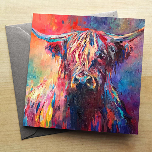 Colourful Highland Greetings Card by Sue Gardner