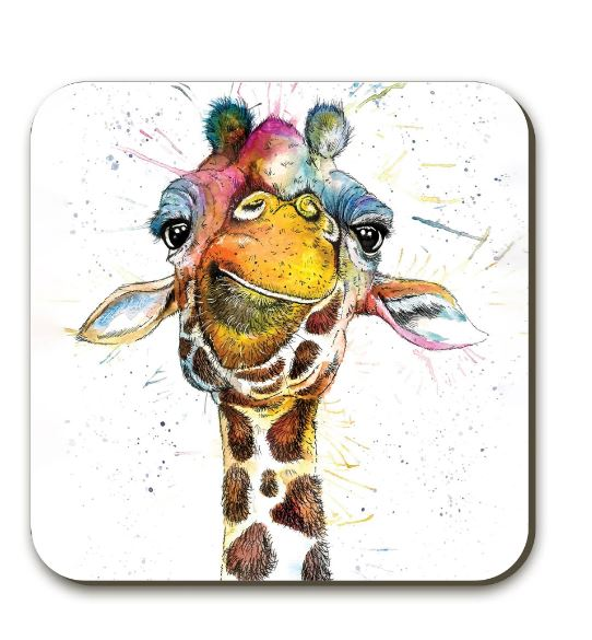 Splatter Rainbow Giraffe Coaster By Katherine Williams