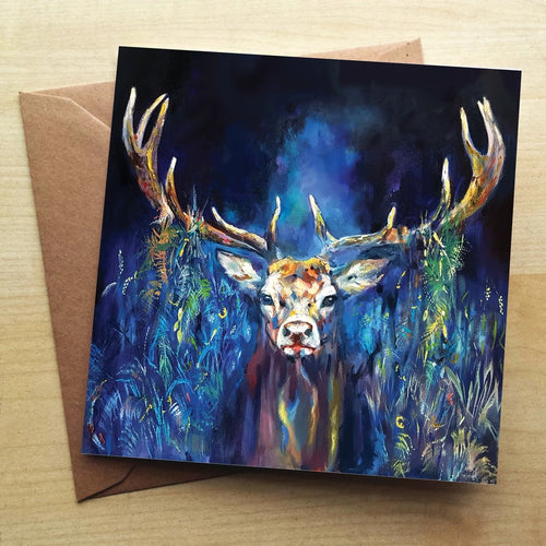 Blue Grazing Stag  greeting card by Sue Gardner