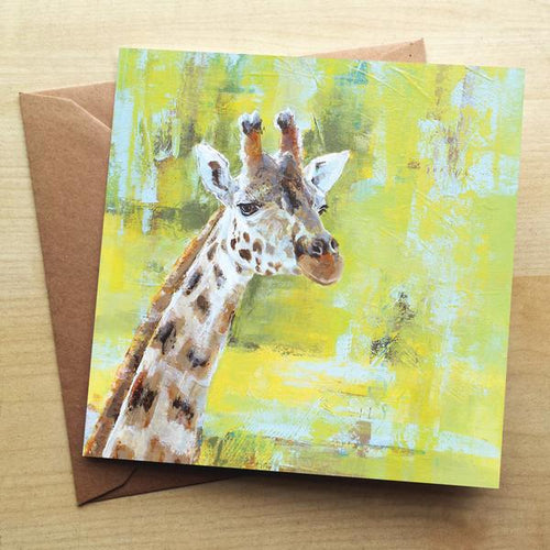 Chester Zoo Giraffe Greeting Card by Valerie de Rozarieux