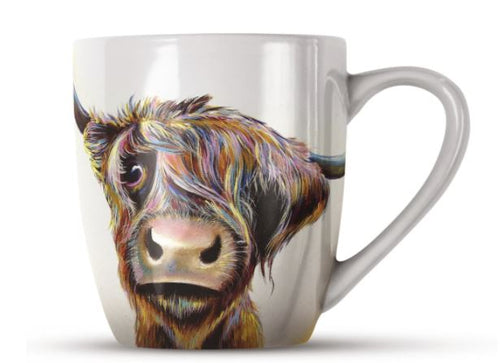 A Bad Hair Day Highland Cow China Mug by Adam Barsby