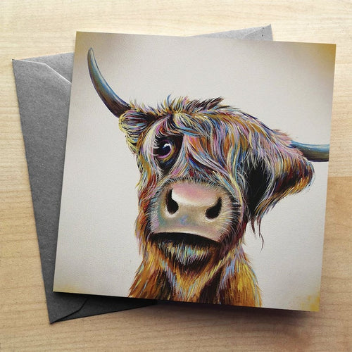Colourful Highland Cow Greetings Card by Adam Barsby  Scottish Cow