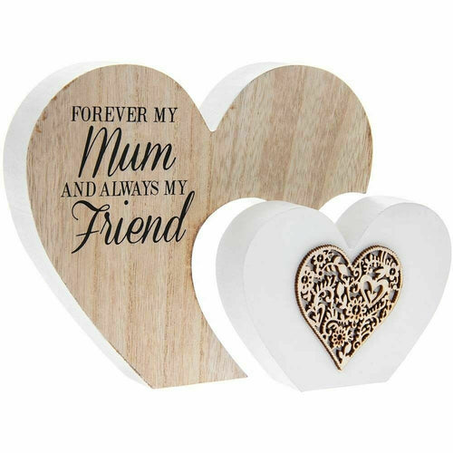 Double Heart Forever my Mum always my friend Plaque-Large