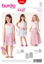 Load image into Gallery viewer, Burda Kids Sewing Pattern 9442 Super Easy Skirts