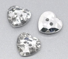 Load image into Gallery viewer, Pack of 10 Heart 12mm Acrylic Crystal Faceted Buttons Sewing/Embellishments