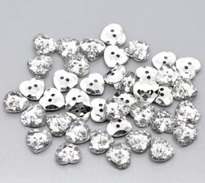 Pack of 10 Heart 12mm Acrylic Crystal Faceted Buttons Sewing/Embellishments