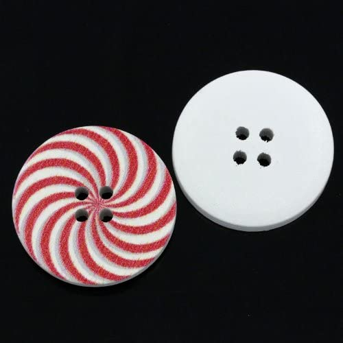 Pack of 10 Red Spiral Round 30mm Wooden Sewing, Knitting, Crochet Buttons