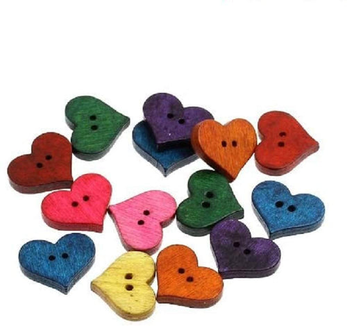Pack of 25 Wooden Mixed Heart Sewing, Knitting, Crochet Buttons