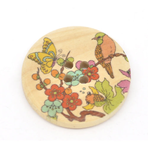 Pack of 10 Bird Tree Butterfly Flower Print Wooden Round 30mmbSewing, Knitting, Crochet Buttons