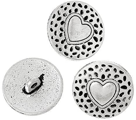 Pack of 6 Heart Metal Shank Round 18mm Sewing, Knitting, Crochet Buttons